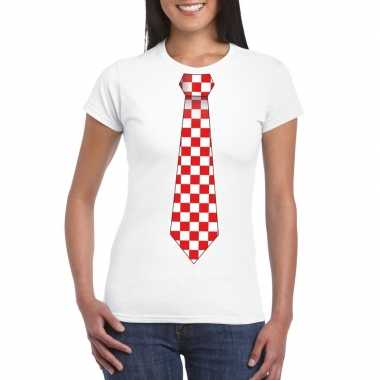 Shirt rood/witte brabant stropdas wit dames
