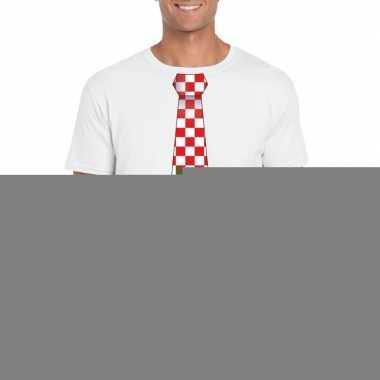 Shirt rood/witte brabant stropdas wit heren