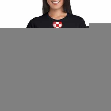 Shirt rood/witte brabant stropdas zwart dames