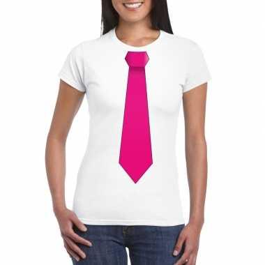 Shirt roze stropdas wit dames