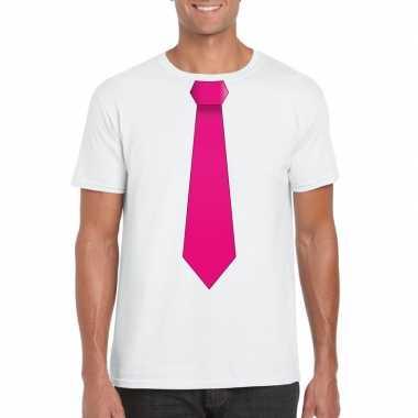 Shirt roze stropdas wit heren