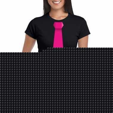 Shirt roze stropdas zwart dames