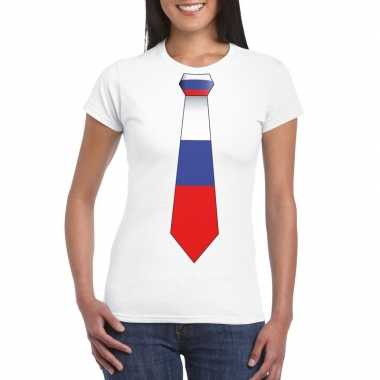 Shirt rusland stropdas wit dames