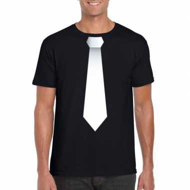Shirt witte stropdas zwart heren