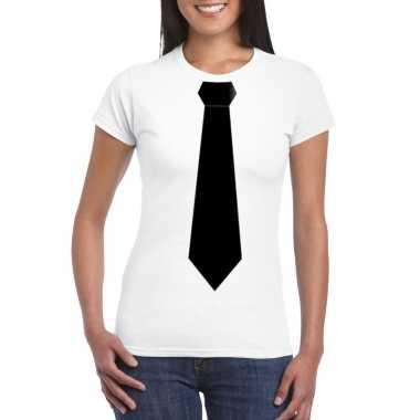 Shirt zwarte stropdas wit dames