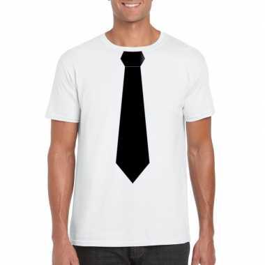 Shirt zwarte stropdas wit heren