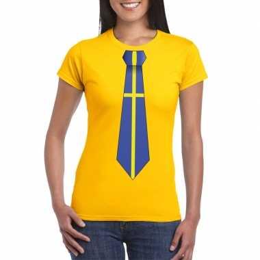 Shirt zweden stropdas geel dames