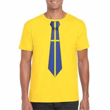 Shirt zweden stropdas geel heren