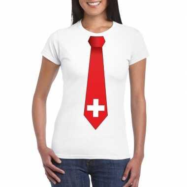 Shirt zwitserland stropdas wit dames