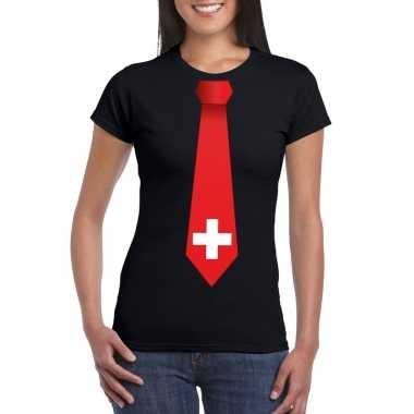Shirt zwitserland stropdas zwart dames