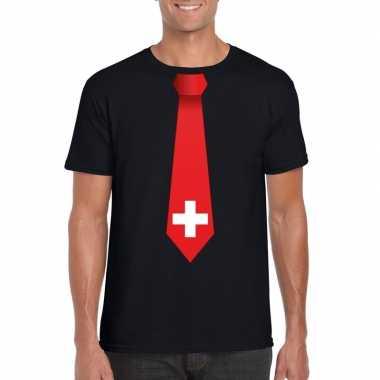 Shirt zwitserland stropdas zwart heren