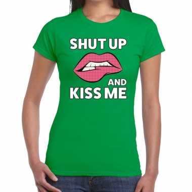 Shut up and kiss me groen fun t shirt dames