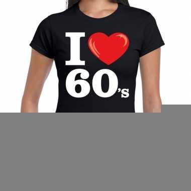 Sixties shirt i love 60s bedrukking zwart dames