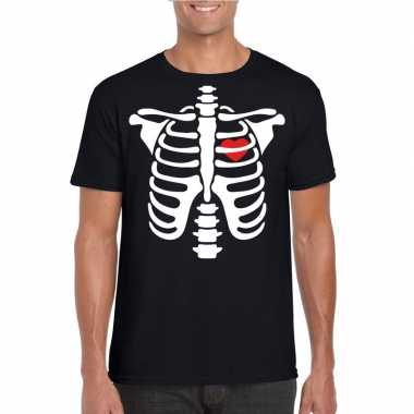 Skelet halloween t shirt zwart heren