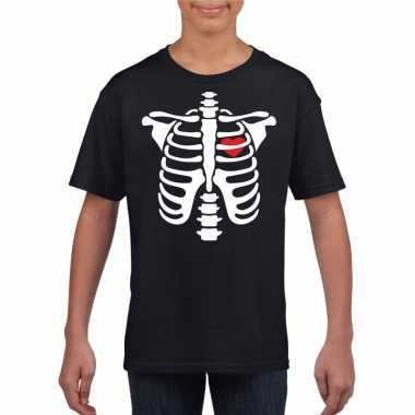 Skelet halloween t shirt zwart jongens meisjes