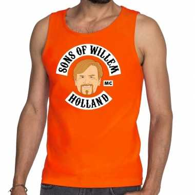 Sons of willem tanktop / mouwloos shirt oranje heren