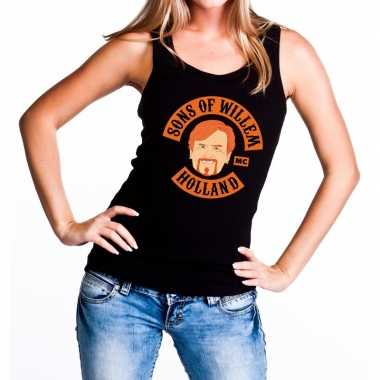 Sons of willem tanktop / mouwloos shirt zwart dames