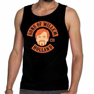 Sons of willem tanktop / mouwloos shirt zwart heren