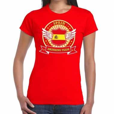 Spain drinking team t shirt rood dames