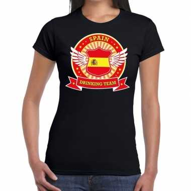 Spain drinking team t shirt zwart dames