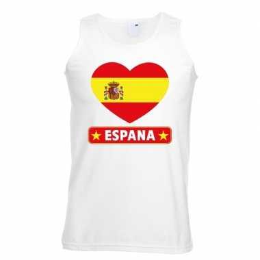Spanje hart vlag mouwloos shirt wit heren