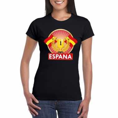Spanje kampioen shirt zwart dames
