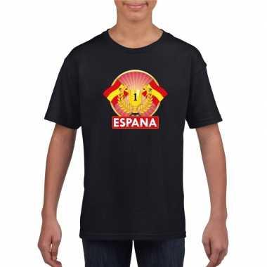 Spanje kampioen shirt zwart kinderen