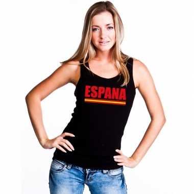 Spanje supporter mouwloos shirt/ tanktop zwart dames