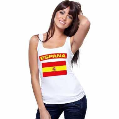 Spanje vlag mouwloos shirt wit dames