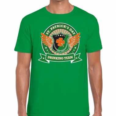 St. patrick's day drinking team t shirt groen heren
