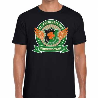 St. patrick's day drinking team t shirt zwart heren