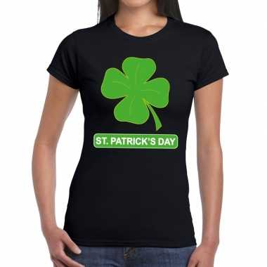 St. patricksday klavertje t shirt zwart dames