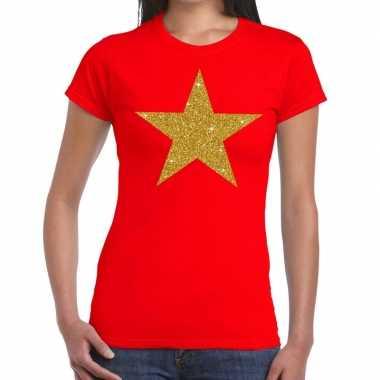 Ster goud fun t shirt rood dames