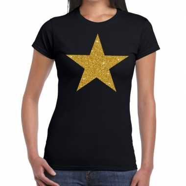 Ster goud fun t shirt zwart dames