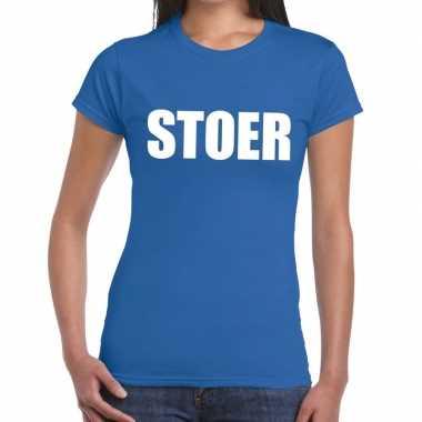 Stoer fun t shirt blauw dames