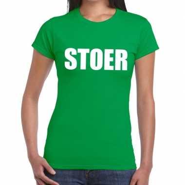 Stoer fun t shirt groen dames