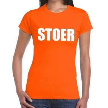 Stoer fun t shirt oranje dames