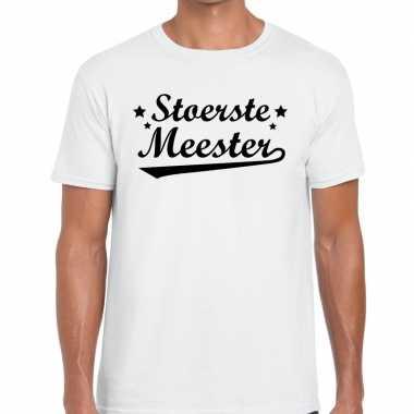 Stoerste meester fun t shirt wit heren