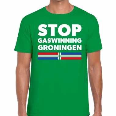 Stop gaswinning groningen protest t shirt groen heren
