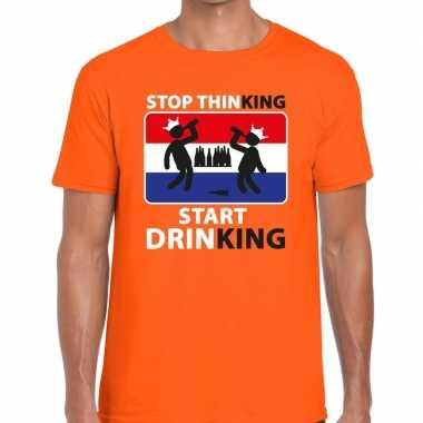 Stop thinking start drinking t shirt oranje heren