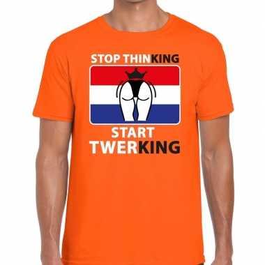 Stop thinking start twerking t shirt oranje heren