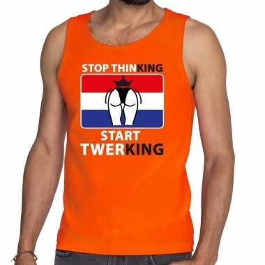 Stop thinking start twerking tanktop / mouwloos shirt oranje heren