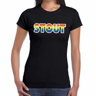 Stout gaypride tekst/fun shirt zwart dames