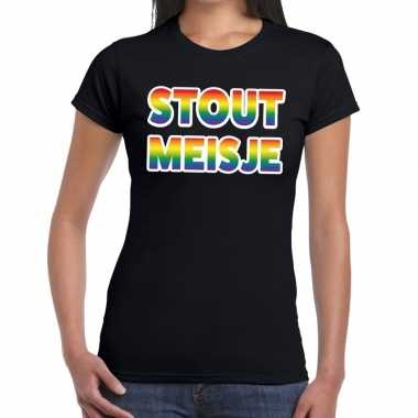 Stout meisje gaypride tekst/fun shirt zwart dames