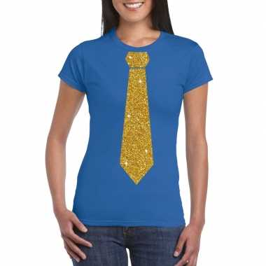 Stropdas t shirt blauw glitter das dames