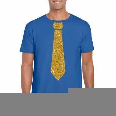 Stropdas t shirt blauw glitter das heren