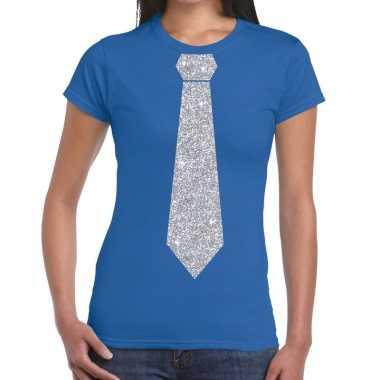 Stropdas t shirt blauw zilveren glitter das dames