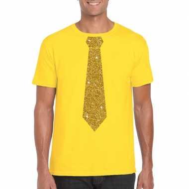 Stropdas t shirt geel gouden glitter das heren