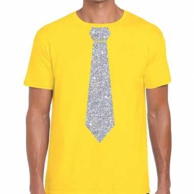 Stropdas t shirt geel zilveren glitter das heren
