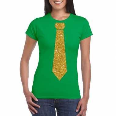 Stropdas t shirt groen glitter das dames